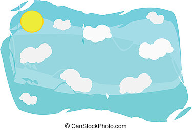sol, nuvens, fundo, céu