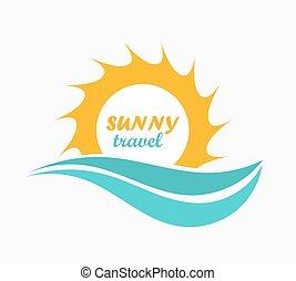sol, og, bølge, symbol