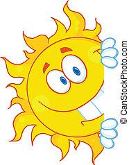 sol, olhar ao redor, um, sinal
