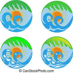 sol, ondas, palma, logotipo