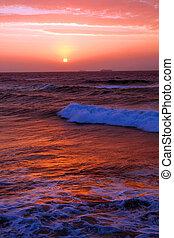 sol, opblussende, hen, havet