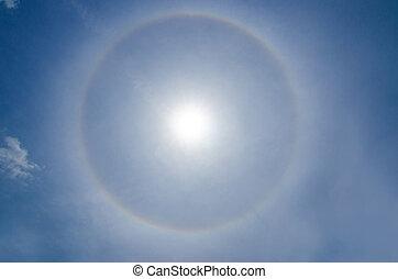 sol, (optical, fenómeno, halo, phenomenon)
