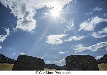sol, orthostates, descendente, dolmen, entre, entrada,...