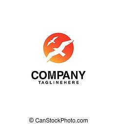 sol, pássaro voador, logotipo