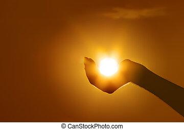 sol, på, hånd gestus