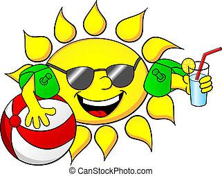 sol, på, sommar ferier