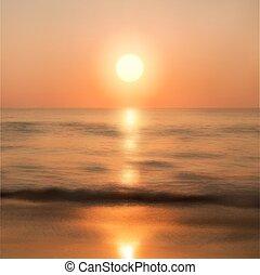 sol, pôr do sol, mar