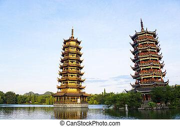 sol, pagodas, china, guilin, luna