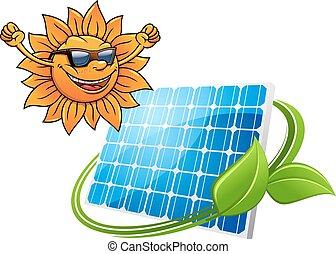 sol, painel, caricatura, solar, feliz