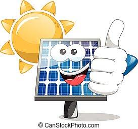 sol, painel solar, polegar cima