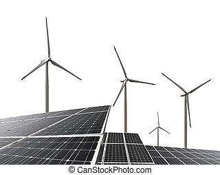 sol, paneler, med, slingra turbiner