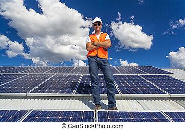 sol, paneler, med, tekniker