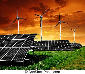 sol, paneler, och, slingra turbin