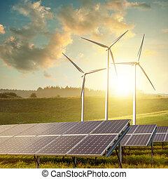 sol, paneler, och, slingra turbiner