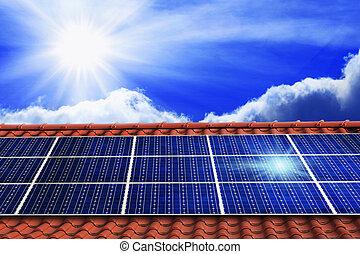 sol, paneler, på, den, tak
