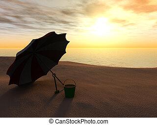 sol, parasol, balde pá, ligado, um, praia, em, sunset.