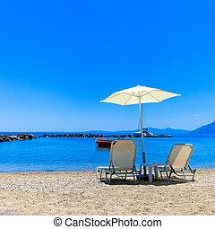 sol, parasol, lounger praia