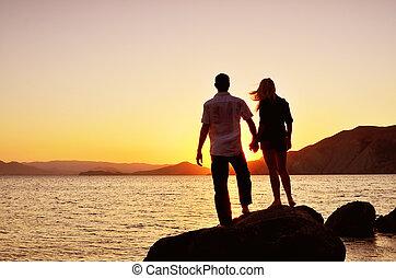 sol, pareja, mar, mirar