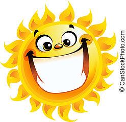 sol, personagem, amarela, excitado, sorrindo, extremamente, caricatura, feliz