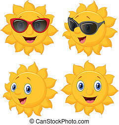 sol, personagem, caricatura, feliz