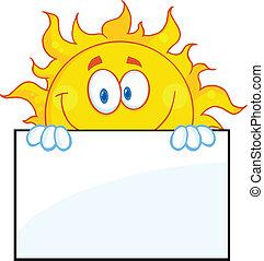 sol, personagem, sobre, um, placa sinal