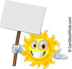 sol, personagem, tábua, segurando, sinal