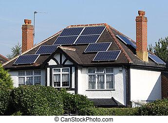 sol, photovoltaic, paneler, på, tak