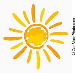 sol, pintado, ilustração
