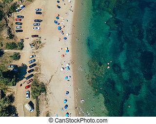 sol, playa, camas, sobre, vista