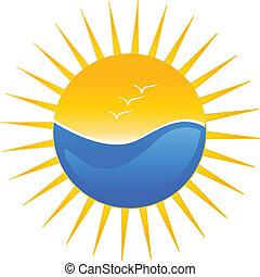 sol, playa, ilustración, logotipo