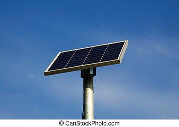 sol powered, vägmärke