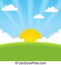 sol, primavera, paisaje