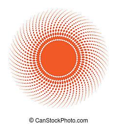 sol, projeto abstrato, element., halftone