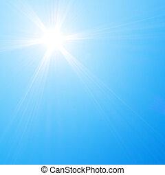 sol que brilla, en, cielo azul