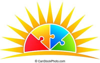 sol, quebra-cabeça, vetorial, pieces., ilustração