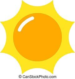 sol, quentes, ícone