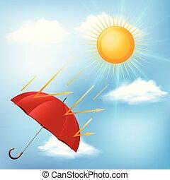 sol, quentes, guarda-chuva, vermelho