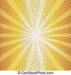 sol, quentes, ilustração, halftone