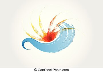 sol, respingo, ondas, logotipo