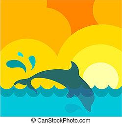 sol, resumen, delfín, saltar, ondulado, mar, debajo, ...