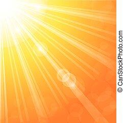 sol, resumen, rayos, plano de fondo, luz