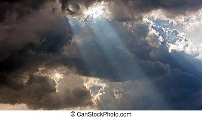 sol rocka, genom, stormmoln