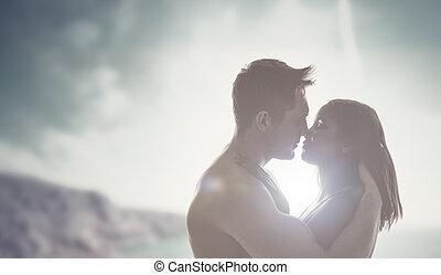 sol, romántico, beso, backlit