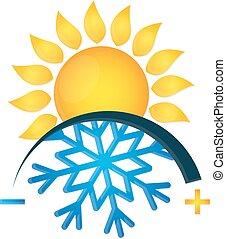 sol, símbolo, condicionamento, snowflake, ar