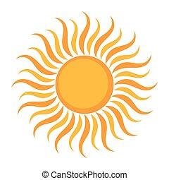 sol, símbolo, encima, blanco