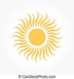 sol, símbolo, o, icono
