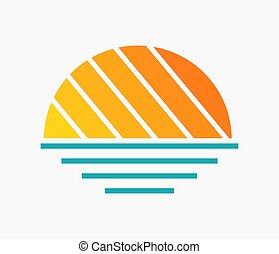 sol, símbolo, pôr do sol, mar, icon., sobre