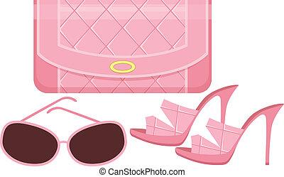 sol, saco, sapatos, femininas, óculos