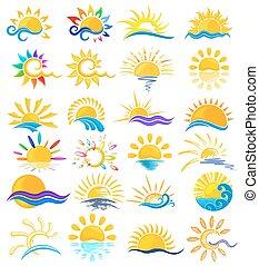 sol, sea., logotipos