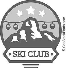 sol, silhuetas, exploração, esqui, emblemas, selva, polos, elements., ao ar livre, vetorial, vindima, natureza, montanhas